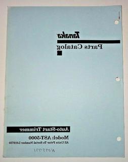 Tanaka AST-5000 Auto Start Trimmer  Parts Manual Catalog Boo