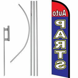 Auto Parts Red / Blue Windless Banner Flag & 16ft Flagpole K