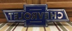 Chevrolet Bow Tie Logo Embossed Metal Chrome Auto Garage Gas