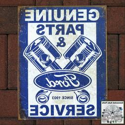 FORD PARTS Pistons Vintage Tin Sign Man Cave Auto Shop Garag
