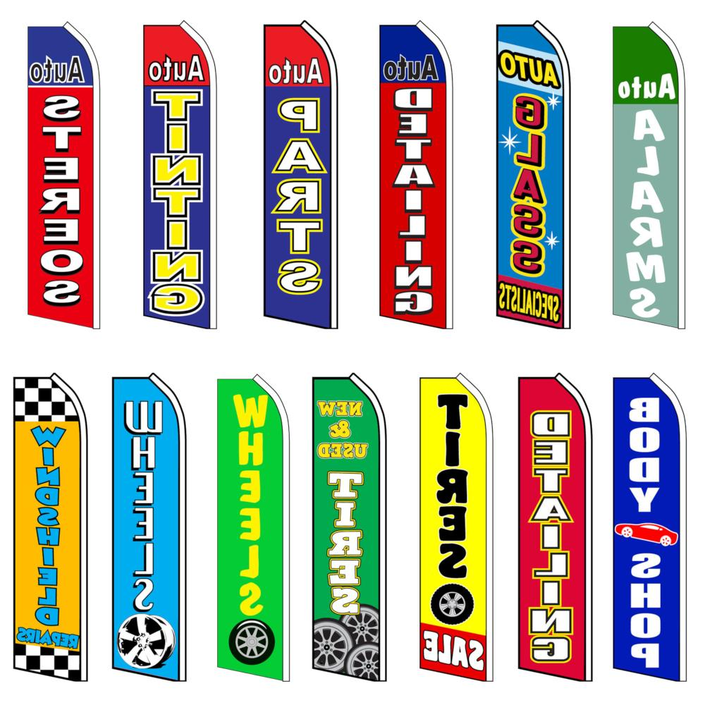 auto body advertising feather flag flutter swooper