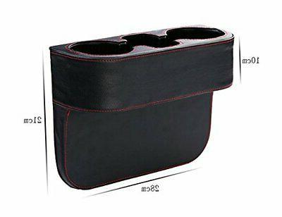 Coin Side Pocket Leather Car Holder Black