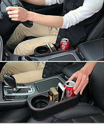 Coin Side Pocket Side Leather Car Cup Holder Black
