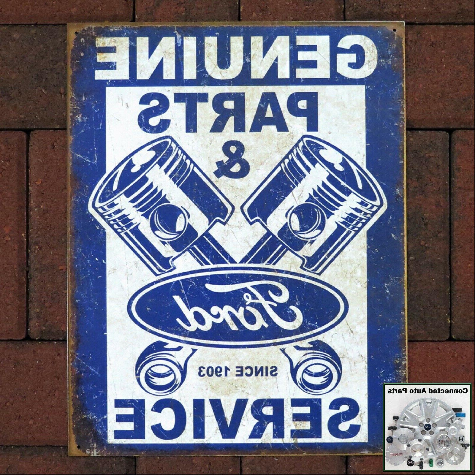 ford parts pistons vintage tin sign man
