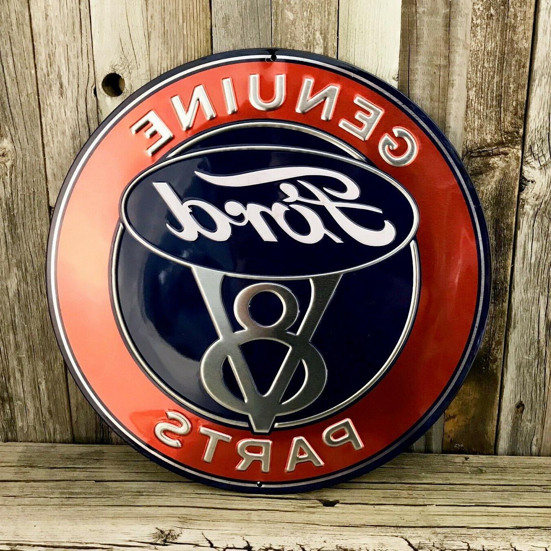 "Ford Genuine 12"" Tin Car Emblem Garage"