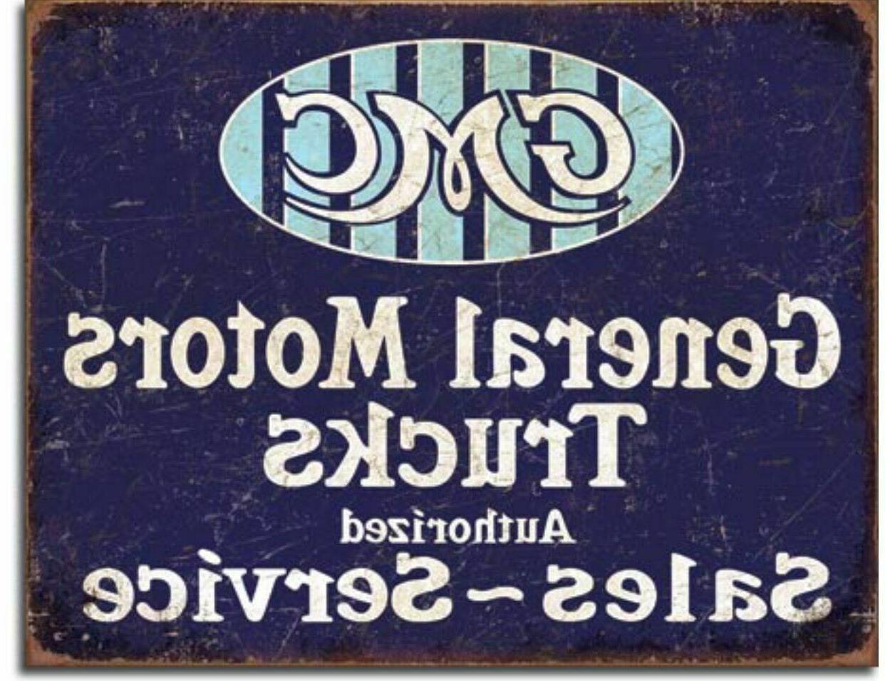 gmc general motors trucks metal ad sign