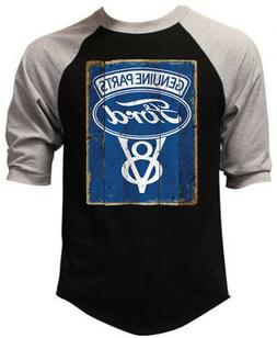Men's Ford Genuine Parts V8 Black Baseball Raglan T Shirt Ca