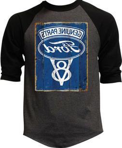 Mens Ford Genuine Parts V8 Charcoal Baseball Raglan T Shirt