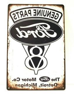 New Ford Auto Parts Tin Sign Art Vintage Style Man Cave Gara